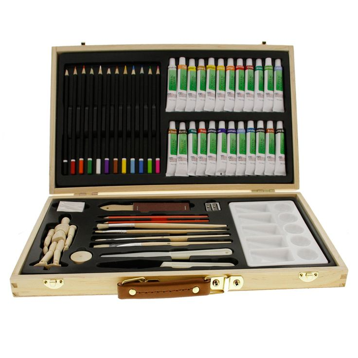 """US Art Supply 50-Piece Acrylic Painting Set with, Wood Storage Case, 24-Tubes Acrylic Colors, 12 Colored Pencils, 2 Graphite Pencils, 4 Artist Brushes, 5.5"""" Manikin, Palette Knives, Eraser, Pencil Sharpener, Plastic Palette with 10 Wells-Great Student Artist Starter Set"""