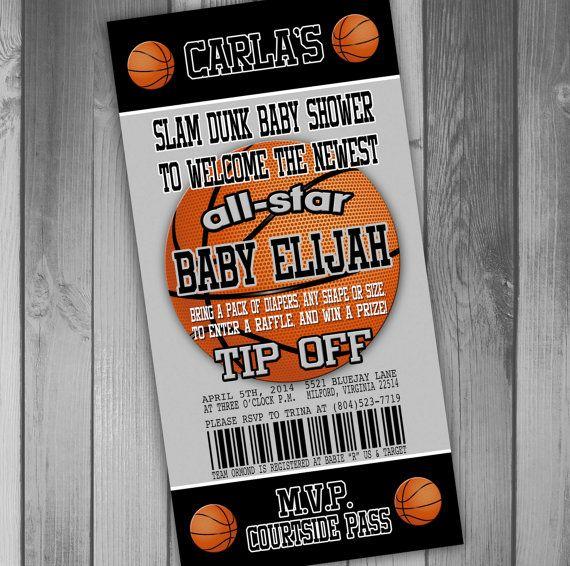 San Antonio Spurs Inspired Basketball Baby Shower Invitation Coed Baby Shower Couples Baby Shower Sports Baby Shower Ticket Invitation