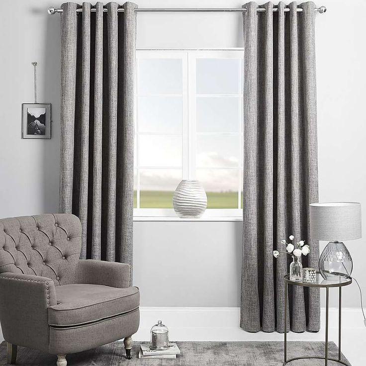 Boston Grey Blackout Eyelet Curtains | Dunelm