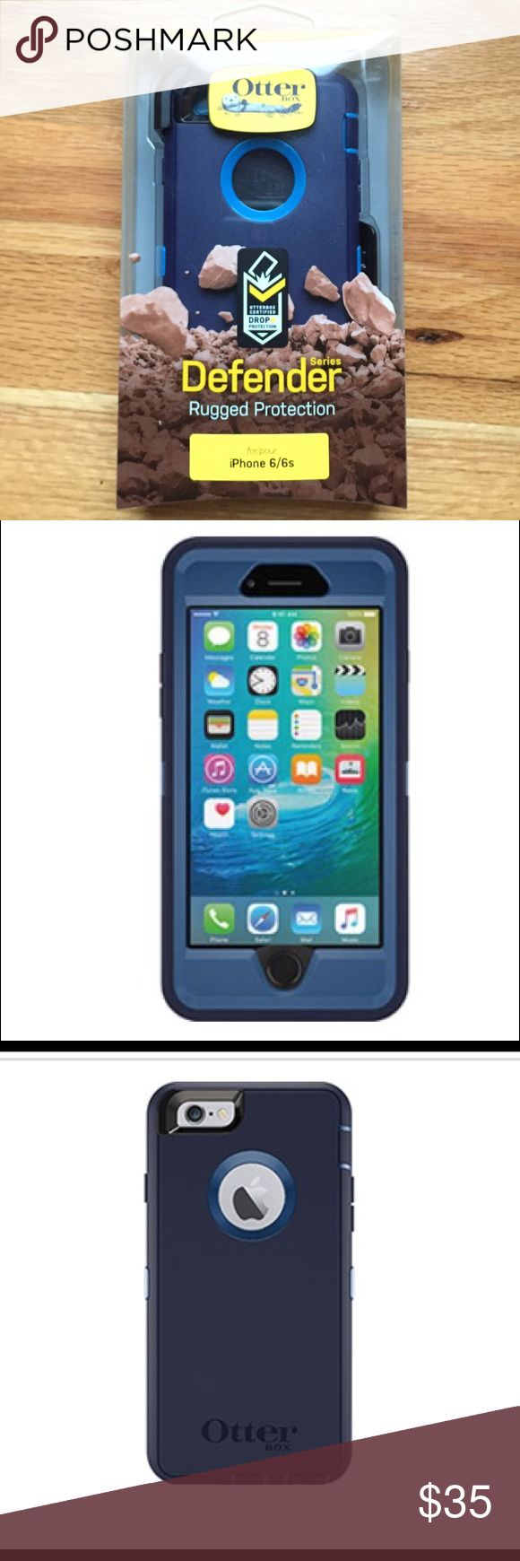 Brand New-sealed box-OtterBox Defender-iPhone 6/6s Brand New: In its Original Box that was never never opened. Color: Indigo Harbor (two tones of blue). Otterbox Defender Series Provides rugged protection for iPhone 6 and/or 6/s. Protects against dust, sc
