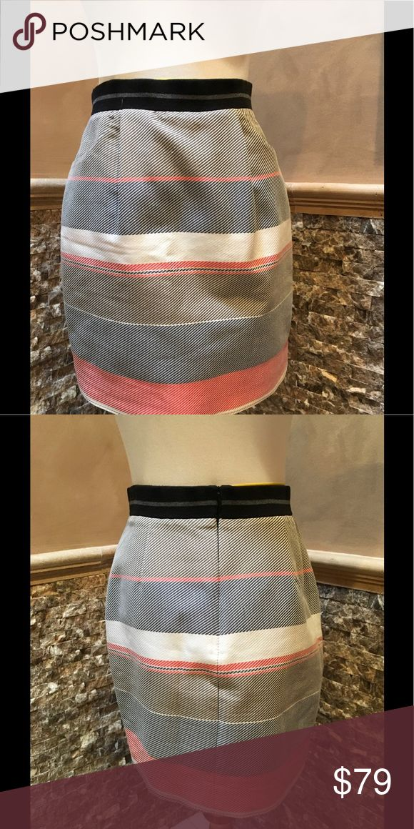 """Jonathan Simkhai Striped Mini Grey, red and blue mini skirt with dual slit pockets at sides, striped print throughout, elasticize get at waist and zip closure. Hip 38"""" Waist 30"""" Length 18"""" Excellent Condition. Jonathan Simkhai Skirts Mini"""