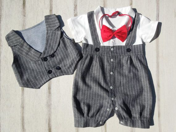"""Gray Suit for Baby Boy,Pinstripe Suit,Ring Bearer Suit,Wedding Knickers,Formal Suit for Baby Boys,Toddler Wedding Suit, """"The Henry Suit"""""""