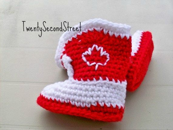 Baby Booties Crochet Red & White  LITTLE by TwentySecondStreet, $20.00
