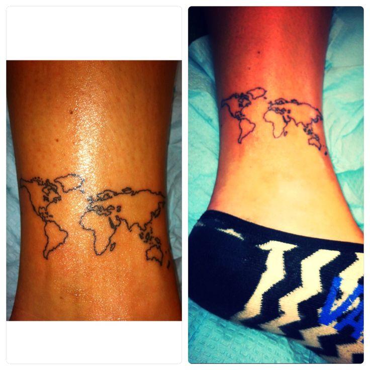 Inside ankle world tattoo
