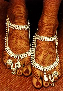 Henna Painted Feet of a Bride in India. [Click to read more about Henna.]