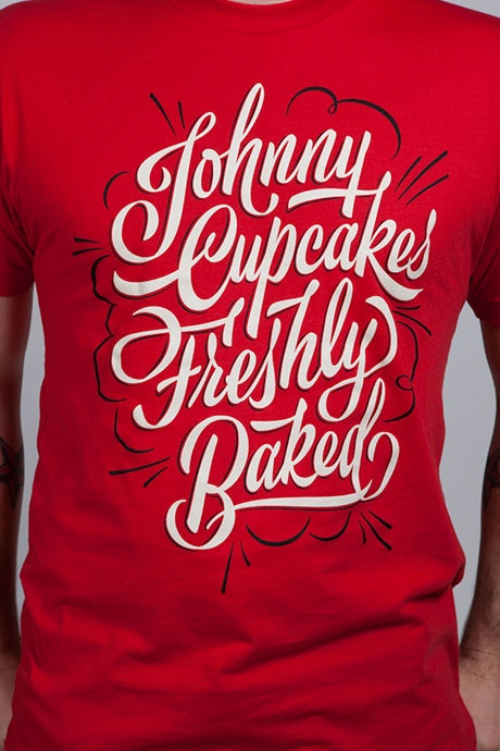 For Johnny Cupcakes. Lettering by James Edmondston.
