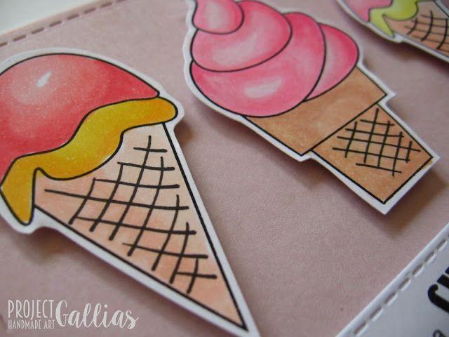 ProjectGallias: Kartka urodzinowa z lodami. Kolorowana copikami. Hnadmade, birthday card with ice-creams. Habe a sweet birthday. #projectgallias, lody, kartka, urodziny, ice cream, card, birthday, copic markers, sweets