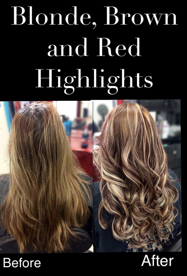 Blonde brown red highlights | My Hairstyles | Pinterest