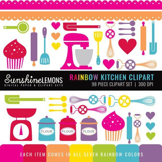 Rainbow Kitchen Clipart Baking Clipart Kitchen by SunshineLemons