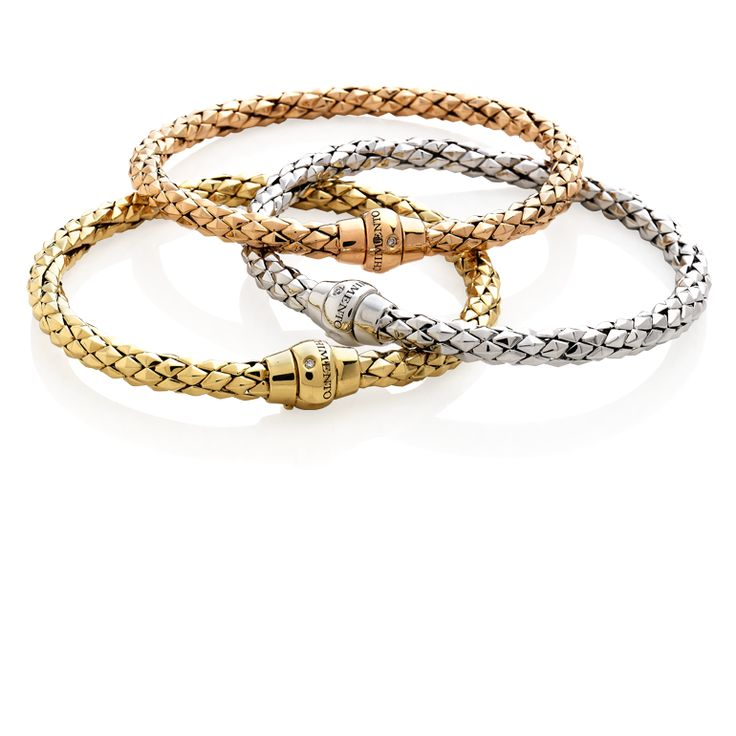 CHIMENTO Stretch Classic yellow, rose and white gold bracelets.