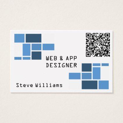 Modern geometric template with QR code Business Card - pattern sample design template diy cyo customize