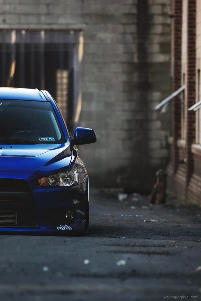 Blue Mitsubishi Lancer Evolution X