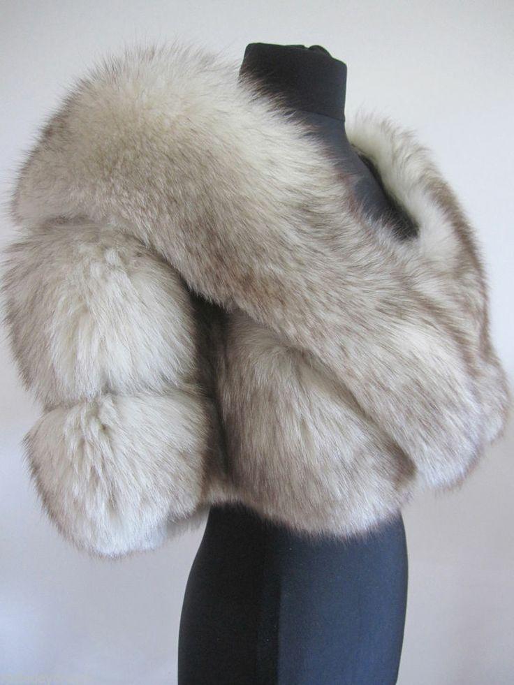 Vtg Ivory White Arctic Blue Norwegian Fox Real Fur Stole