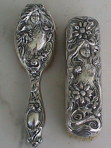 Antique Art Nouveau Sterling Silver Repousse Hair Brushes