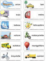 Étiquettes-mots - Les moyens de transport Plus