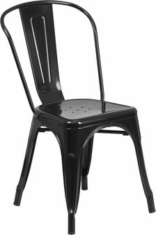 $41.99 Black Metal Indoor-Outdoor Stackable Chair, CH-31230-BK-GG by Flash Furniture | BizChair.com