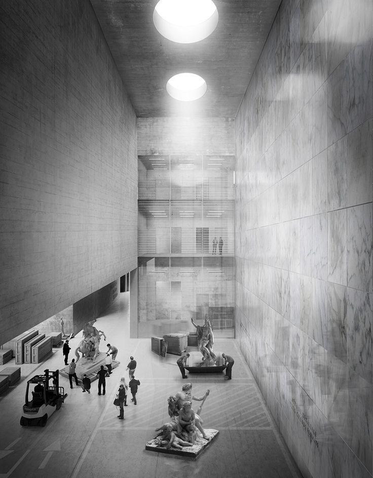 Campo Baeza . Gabrion . nuevo edificio para el Museo del Louvre.