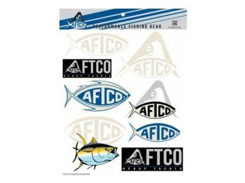 AFTCO Fishing Stickers & Decals Sheet by AFTCO. $7.99. Dimensions: 9 x 12. A 9x12 sticker sheet including 8 adhesive-backed stickers that will adhere to any smooth surface. Great for displaying on your car, truck, boat, tackle box, cooler, surfboard or skateboard. Use them all or give some away to your fishing buddies. Whether you fish for dorado, marlin, bass, sailfish, or any other fish species, these fishing stickers and fishing decals are a great way to show off your suppo...
