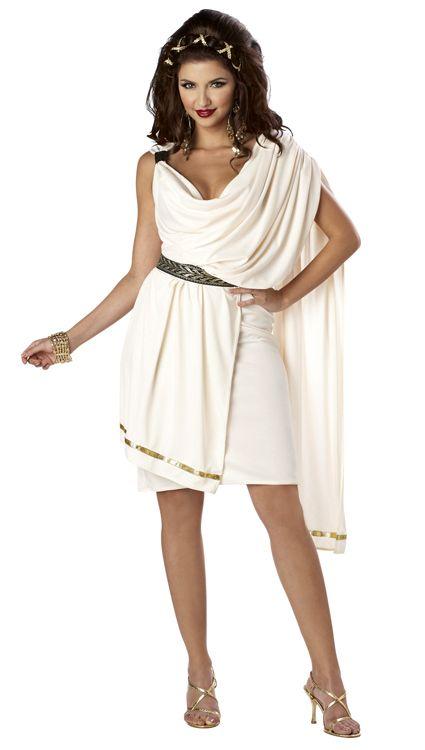 Roman 300 Greek Gladiator Tunic White Toga Party Adult Women's Costume | eBay