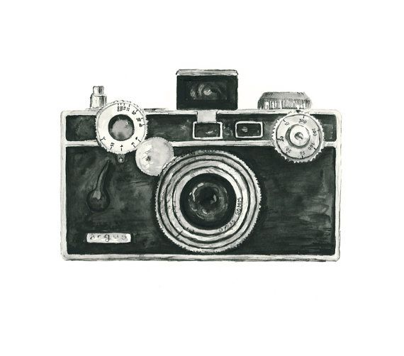 vintage camera watercolor giclee art print // ARGUS // 8X10 print - home decor -- wall art