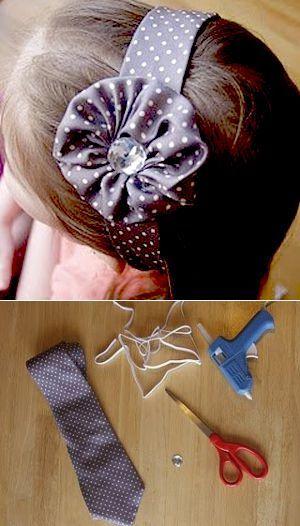 Ободок для волос из старого галстука.