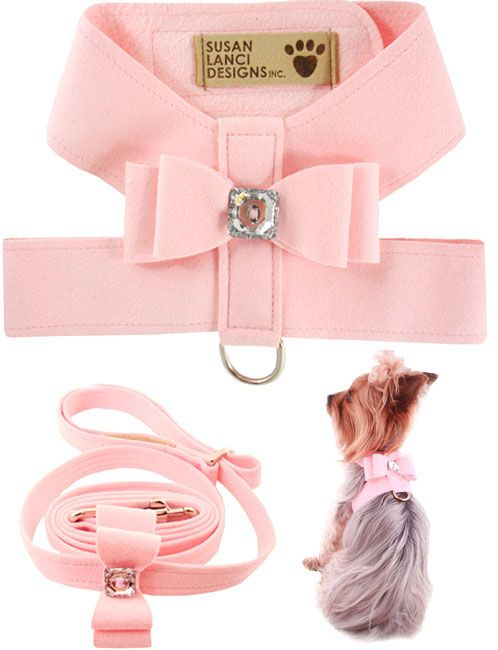 Dog Harness And Leash - Leads, Designer Small Dog Harness, Susan Lanci, Pink, Cute, Couture High End