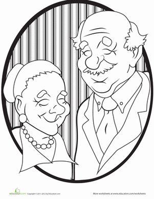 Kindergarten People Worksheets: Grandparents Coloring Page