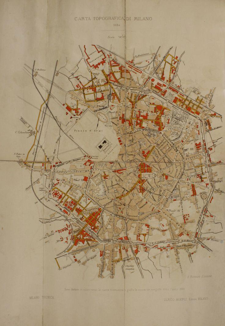 MILANO TECNICA dal 1859 al 1884 CARTA TOPOGRAFICA DI MILANO, Ulrico Hoepli Editore, 1884, Milano, Civica Raccolta delle Stampe Achille Bertarelli.