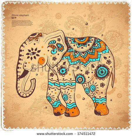 Vintage elephant illustration – stock vector