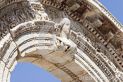 Detail of the Temple of Hadrian, in the antique city of Ephesus in the actual Turkey