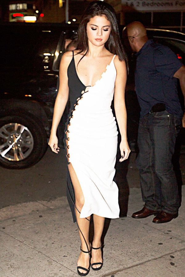 Selena Gomez in a black and white dress