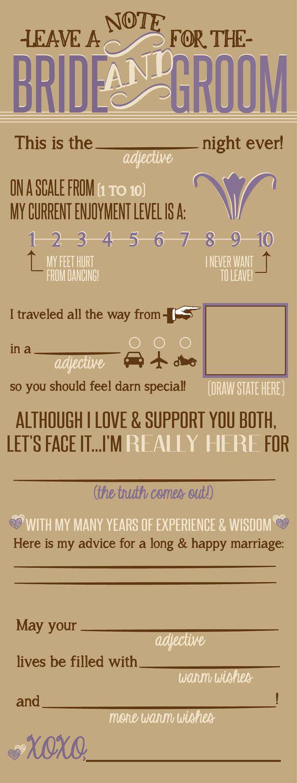 Rustic Wedding Note to Bride & Groom Printable File - Lilac Beige and Brown