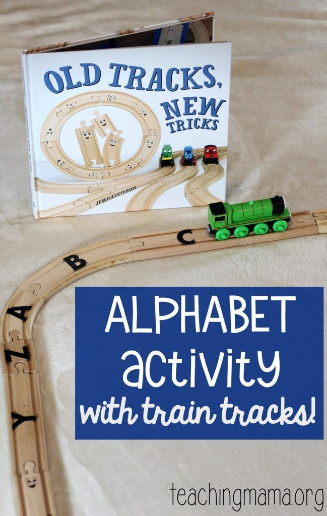 Alphabet Activity with Train Tracks - this is such a great way to practice the alphabet!