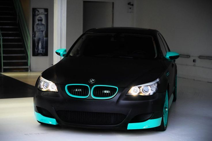 Clean matte black and sky blue BMW M5 www.youlikecars.co.uk