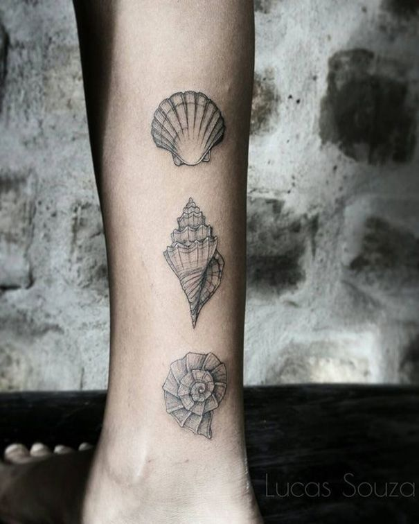 Tiny Shell Tattoos für Frauen #minimalist #anaabrahao #cute #henna #colorful