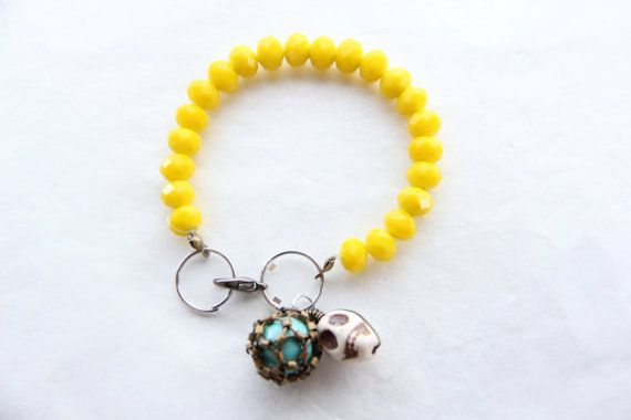 Yellow crystal bead bracelet with Howlite skull charms by Somsri, $18.00 #somsri #Jewelry #Jewellery #Stone #Crystal #Handmade #Handmadejewellery #Handmadejewelry #Gemstone  #Yellow #Yellowbracelet  #Howlite  #Skull #Beaded #Bracelet #Beadedbracelet