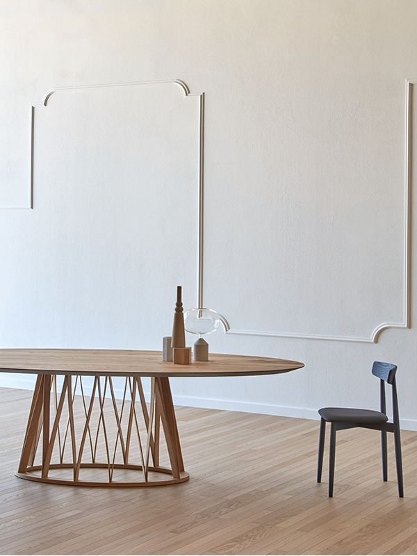 Acco oval wooden table by Florian Schmid for Miniforms, Acco collection