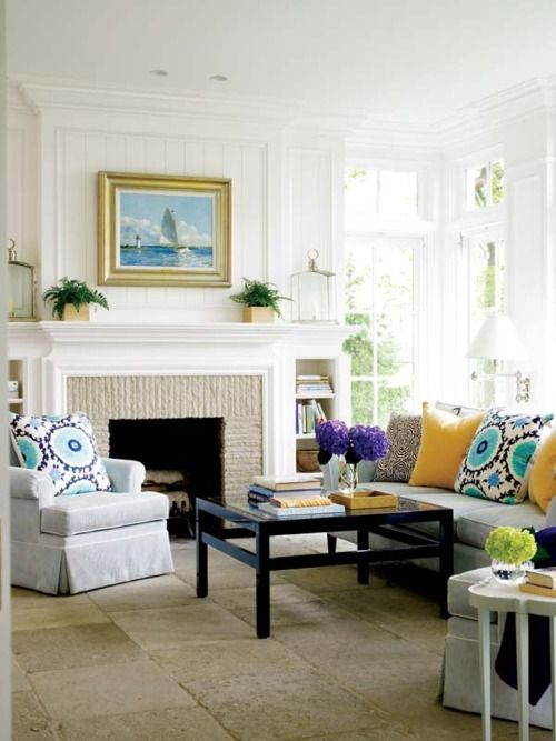 Fireplace mantle top look: Fireplaces Mantles, Idea, Fireplaces Mantels, Living Rooms, Pop Of Colors, Floors, Dreams House, Pillows, White Wall