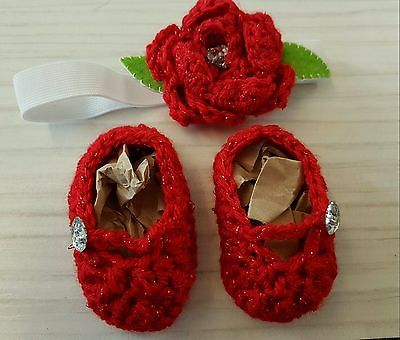 handmade baby christmas red flower headband and Mary janes NEWBORN Xmas gift