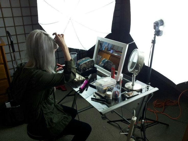 Makeup prep station at T47 Productions.