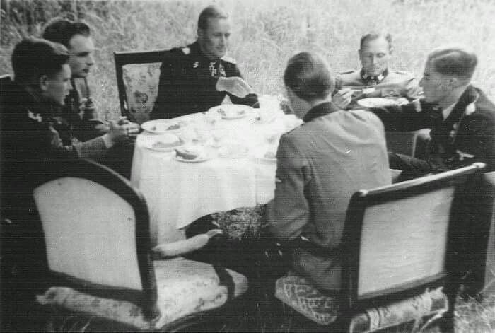 From left: Hans Gruhle, Jupp Diefenthal, Werner Pötschke, Theodor Wisch, Jochen Peiper and Fritz Beutler, Flanders on 4th June 1944.