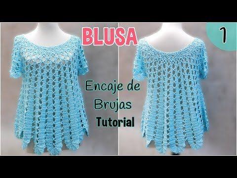 Patrón blusa amplia a crochet o ganchillo. Encaje de Brujas (1/2) - YouTube