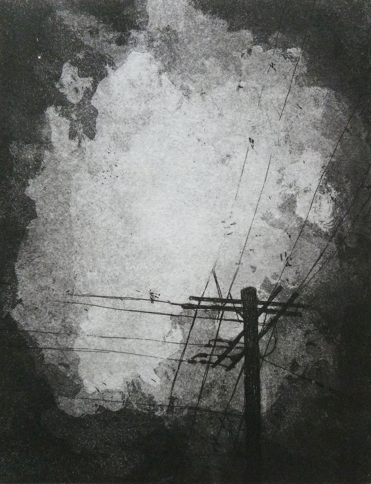 Storm - telephone pole against stormy sky - acid line etching with aquatint