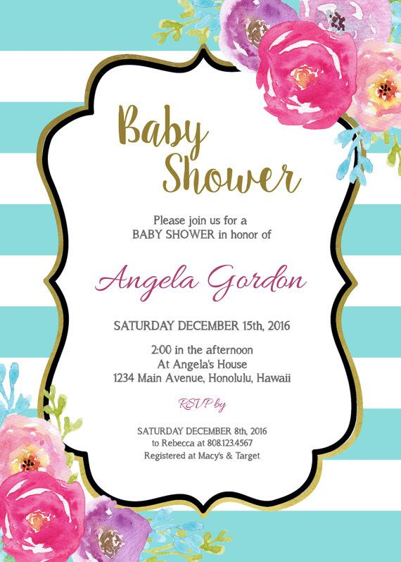 Boy Baby Shower Invitation Watercolor Floral Invite Baby