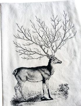 Deer Tree Antler Kitchen Towel rustic-dishtowels