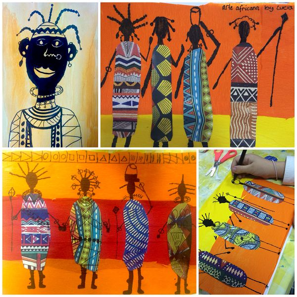 Arte africano, african art, Masai art, great class for study ot warm colours