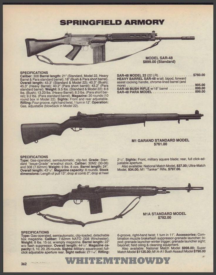1988 SAR-48, M1 GARAND, M1-A Standard Rifle Springfield Armory AD