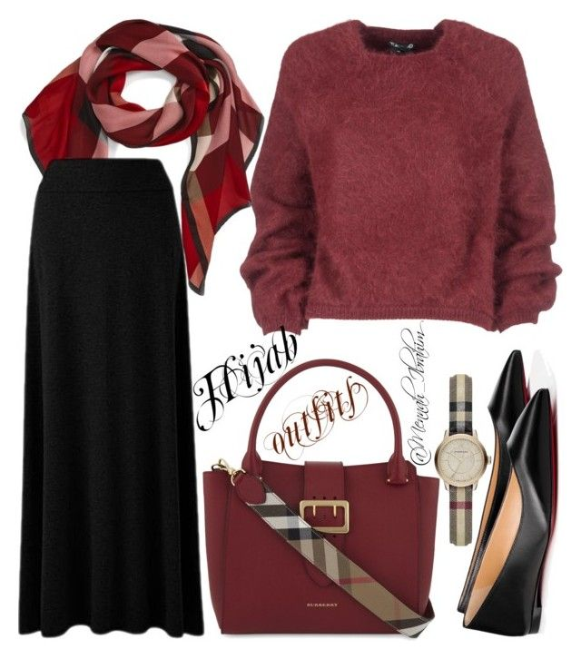 """""""#Hijab_outfits #Red_black #Burberry"""" by mennah-ibrahim on Polyvore featuring Tom Ford, Burberry and Christian Louboutin"""