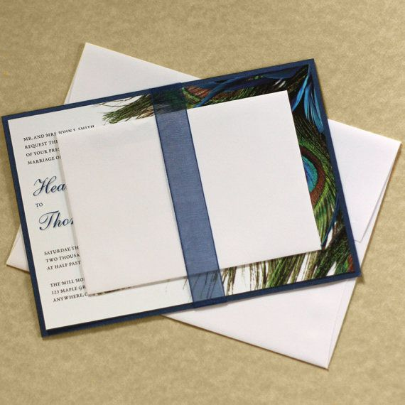Peacock Wedding Invitation Feather Wedding by willowglenstationery