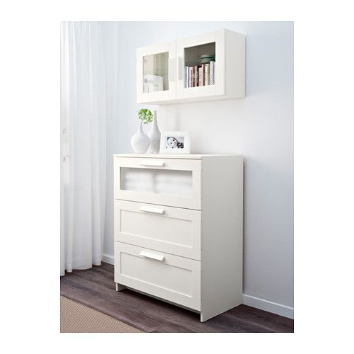 BRIMNES Wall cabinet with glass door, white white 15 3/8x15 3/8